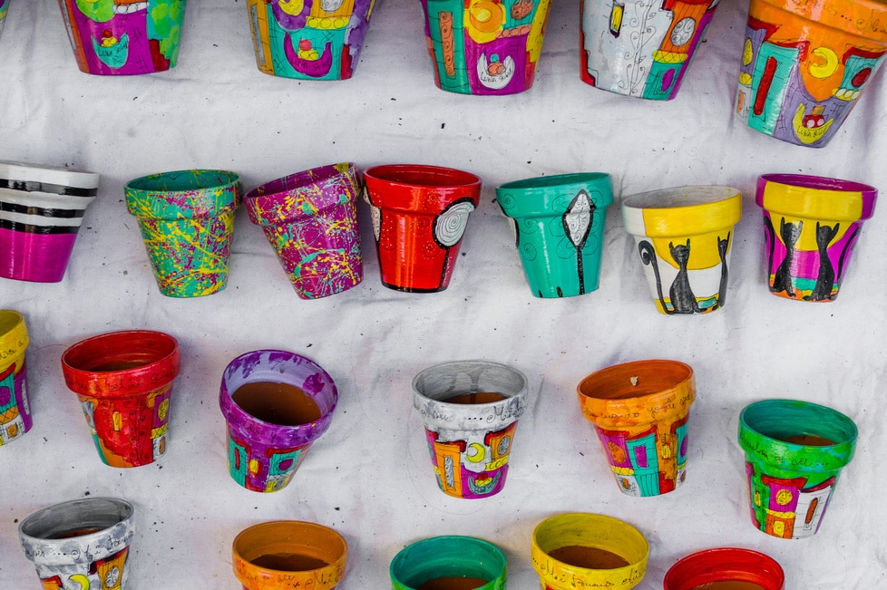 Colorful painted plant pots at a weekend fair in San Telmo neighborhood, Buenos Aires