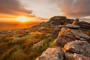 Sunset from King's tor Dartmoor Devon Uk