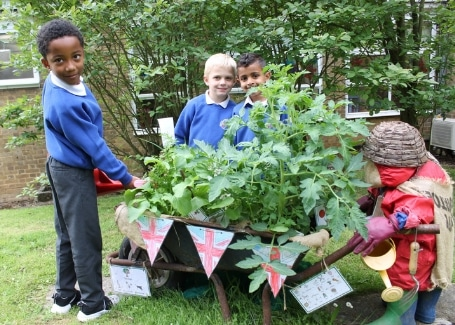 Midfield Primary School children in their garden