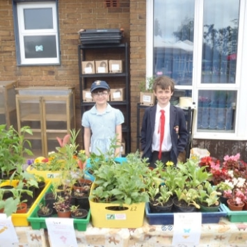 St Albans Primary School children at their plant sale for their Cultivation Street Garden