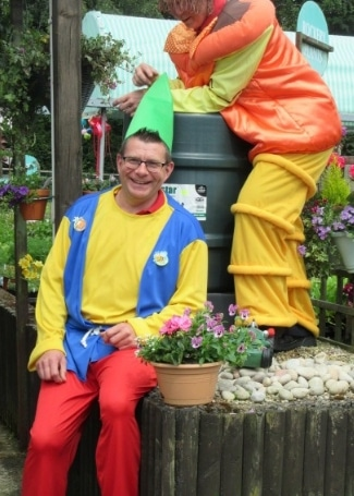 Cultivation Street Ambassador Gary Bissett from Inver Garden Centre dressed for his bug and gnome hunt