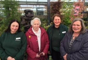 Cultivation Street Ambassador Laura Stevens from Dobbies garden centre with colleague and customers