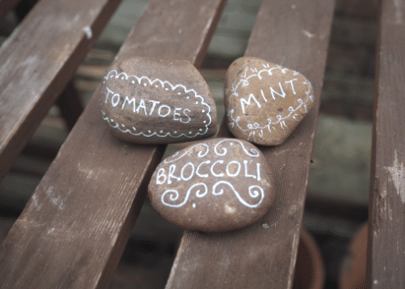 Cultivation Street blog, make your own plant markers, quick and easy ideas to label up your garden including decorating stones