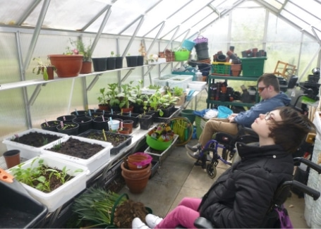 The Clare School's students in their greenhouse, the story of their Cultivation Street garden without boundaries, accessible to all