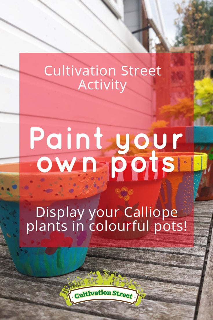 Pin 2 Painting Pots Main cultivation street communiyt school gardening calliope Pot