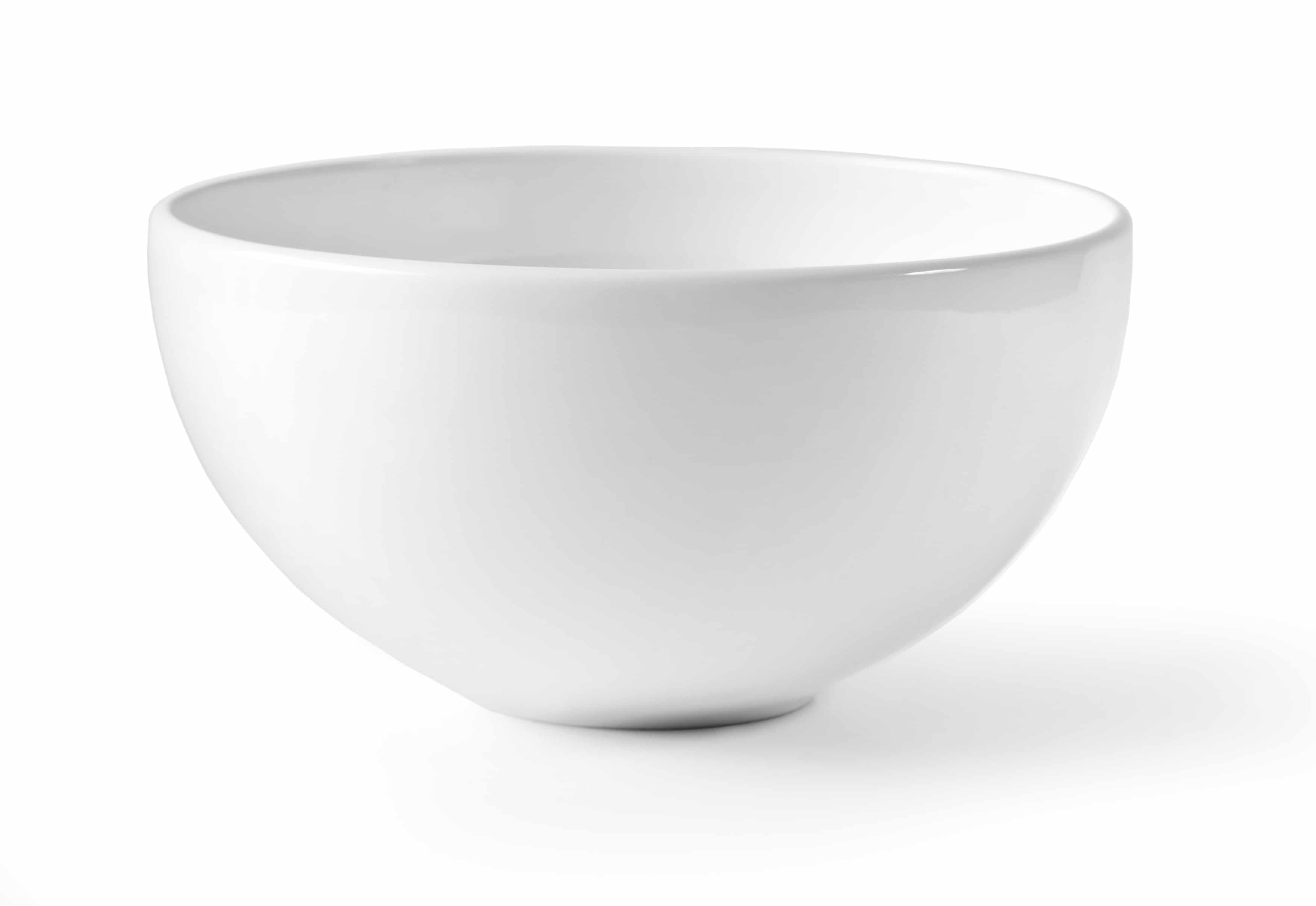 White empty bowl isolated on white background,  with clipping path