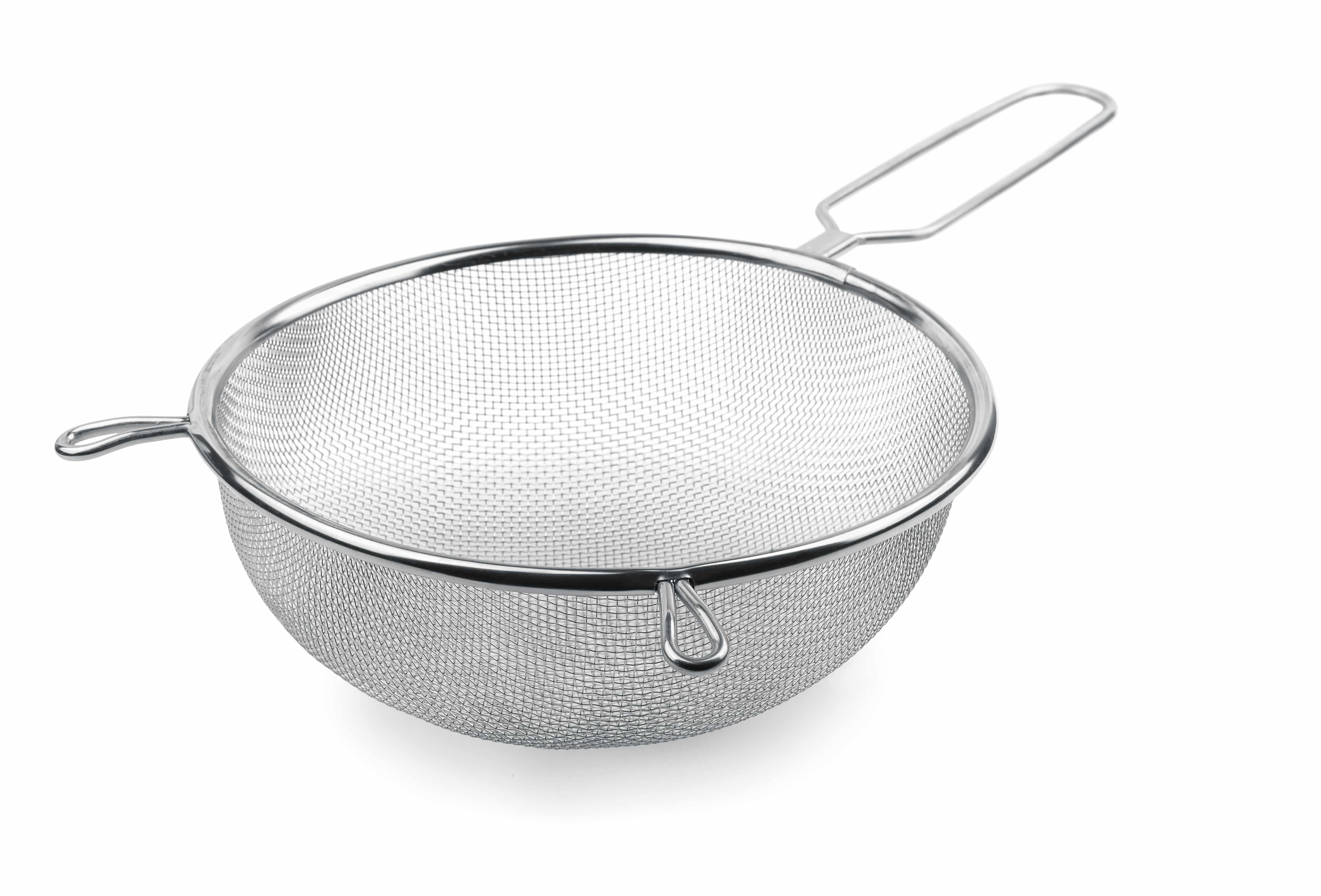 Metal kitchen sieve isolated on white