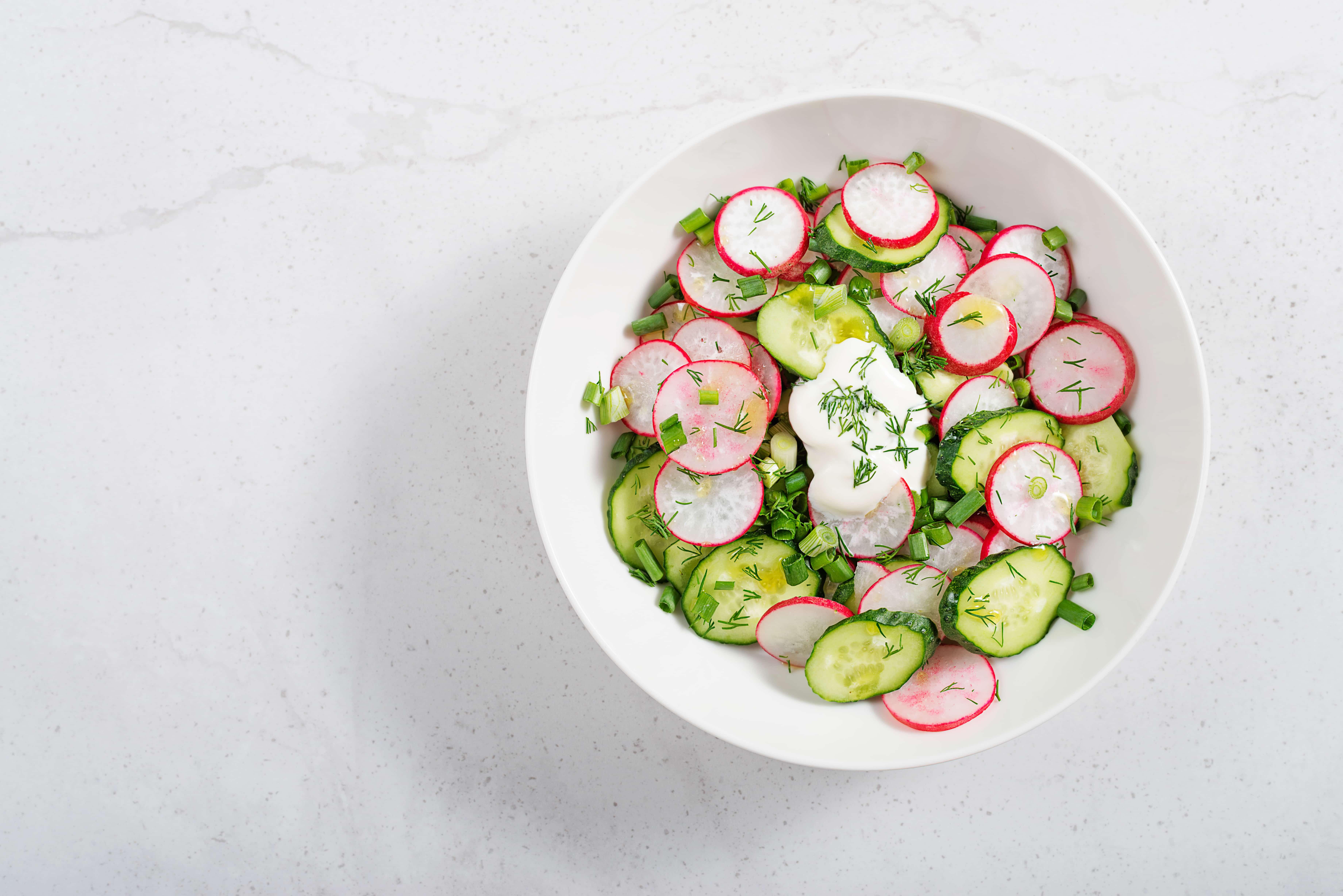 Fresh organic radish salad. top view.
