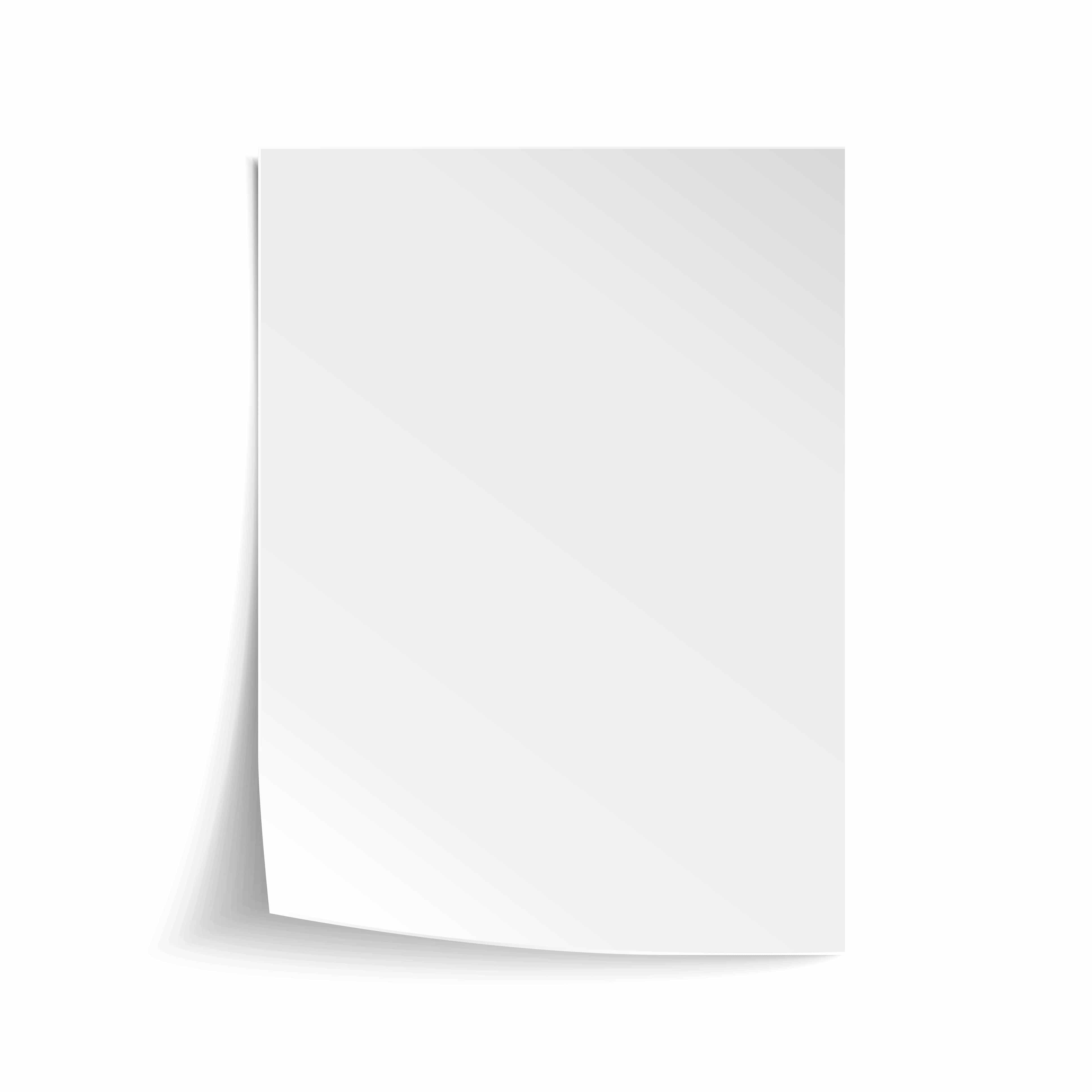 Vector White sheet of paper. Realistic empty paper note template of A4 format with soft shadows isolated on white background