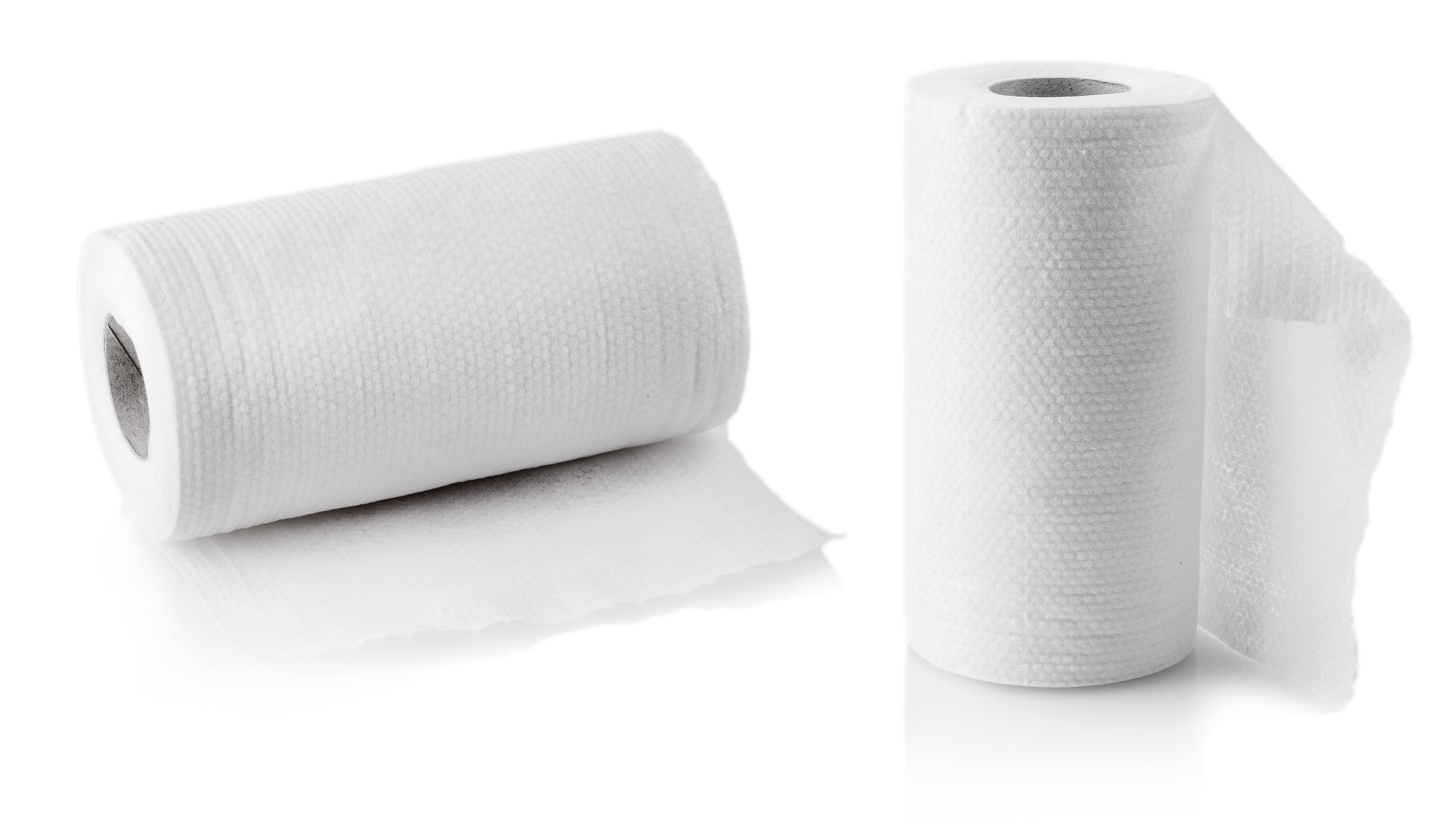 Set of roll of paper kitchen towels isolated on the white background