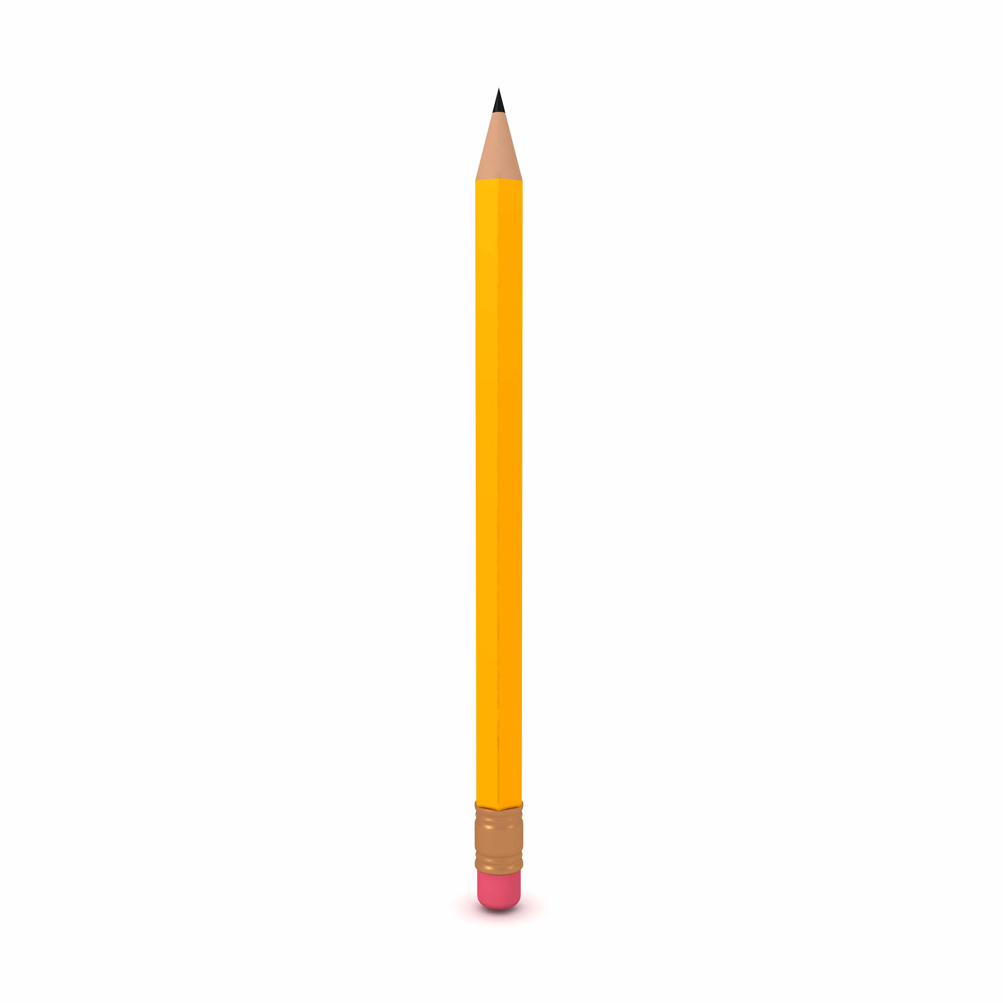 3D illustration of a vertical number two pencil. 3D Rendering isolated on white.