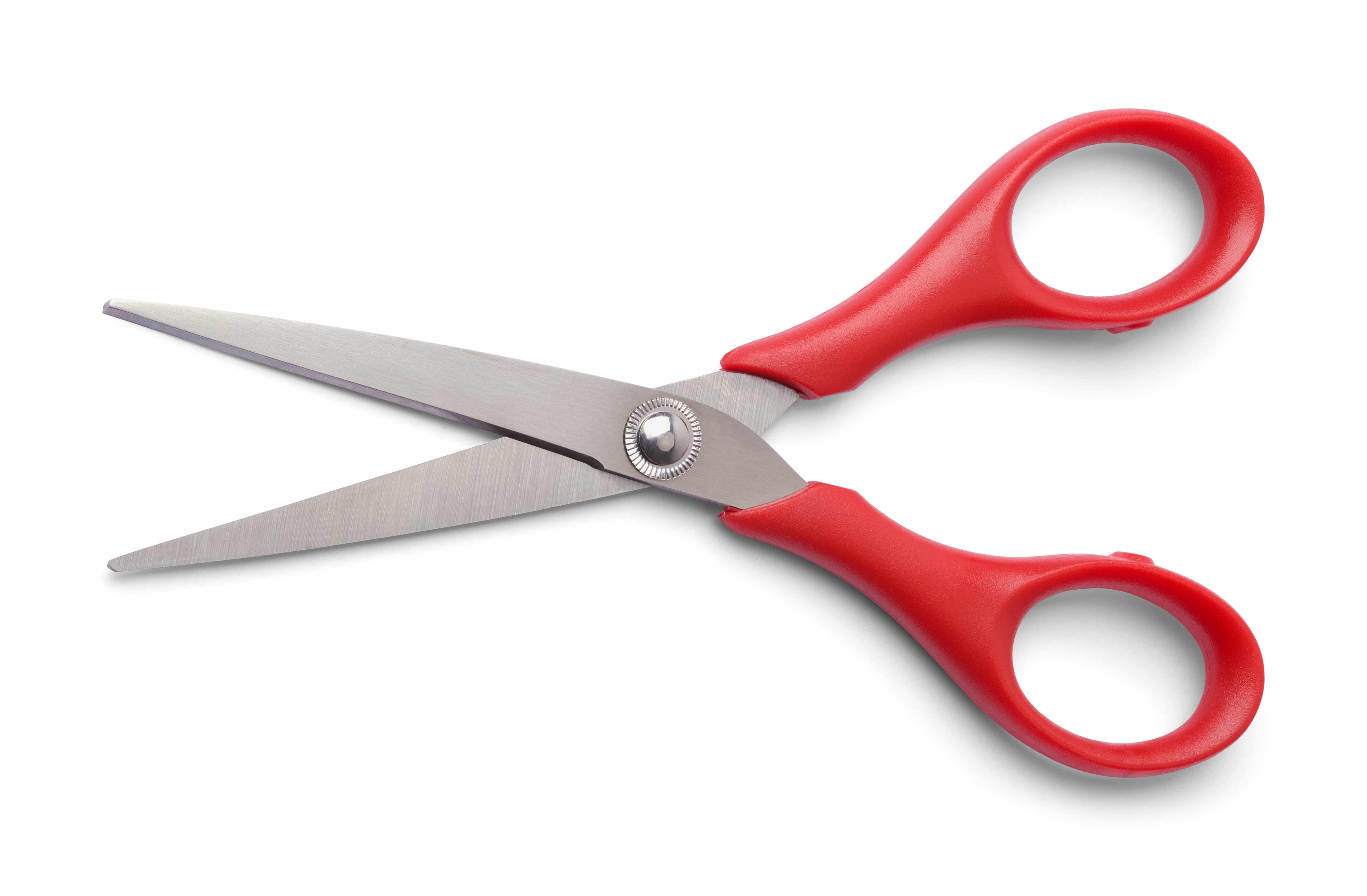 Pair of Red Scissors Open Isolated on White.