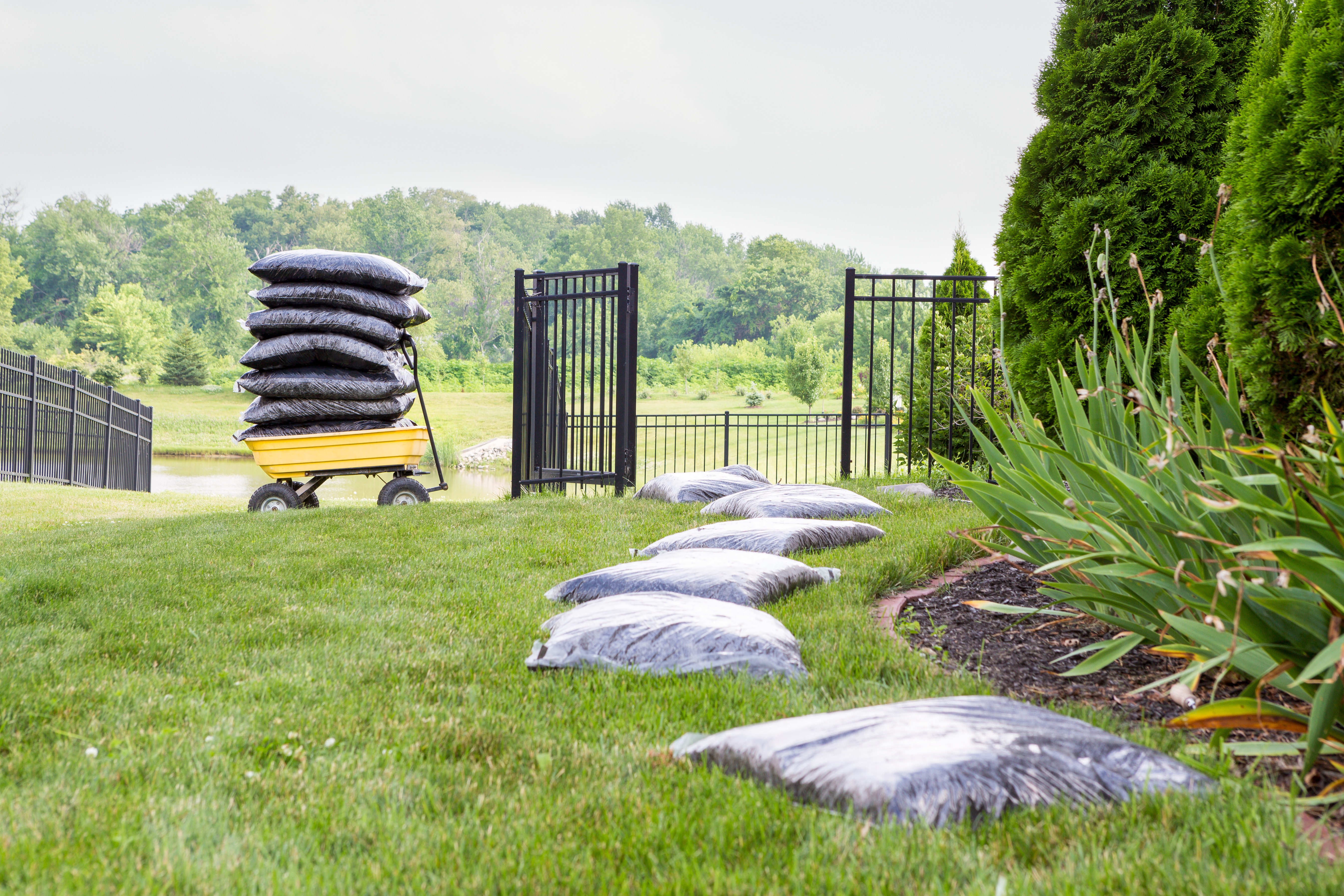 Mulching the garden takes time and effort with bags of mulch laid out on the lawn alongside the flowerbed in a long row waiting to be spread with a cart stacked full of bags in the background