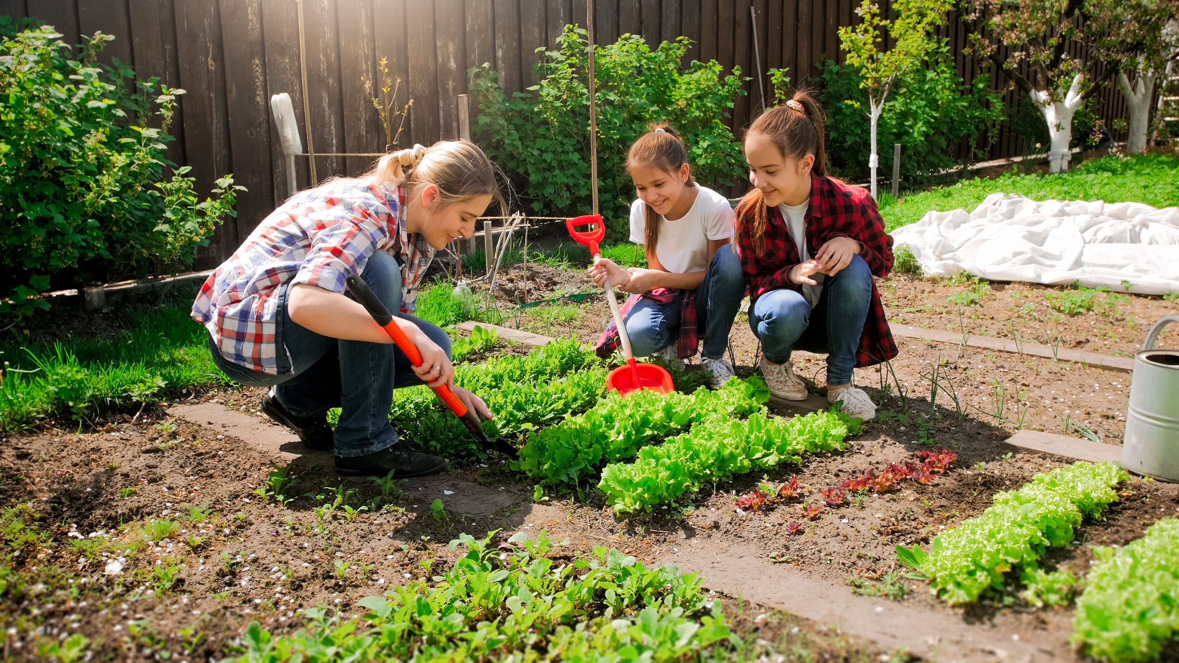 Happy woman with daughters planting seeds in garden