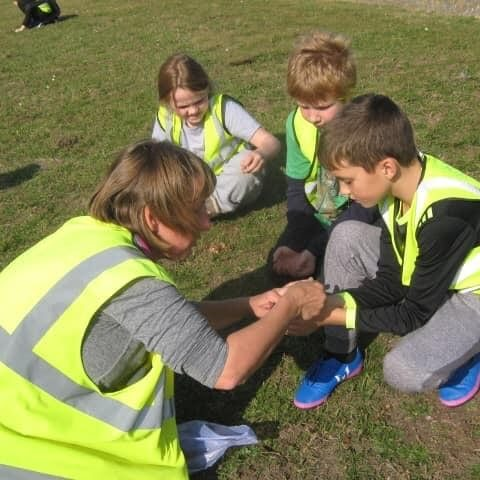 Miss Collins With Sandown School children planting crocus bulbs